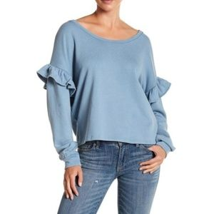 Lucky Brand Blue Ruffle Sleeve Romantic Sweatshirt